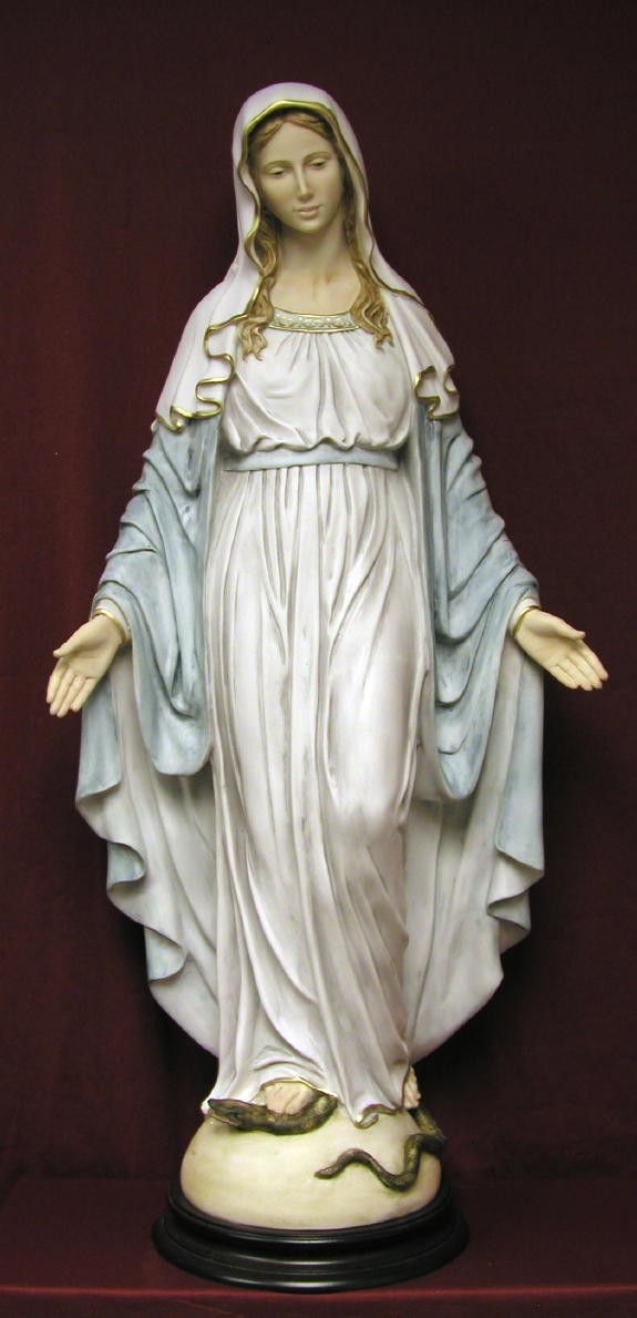 "1400-C Lady of Grace, Hand-Painted Alabaster, 36"" statue"