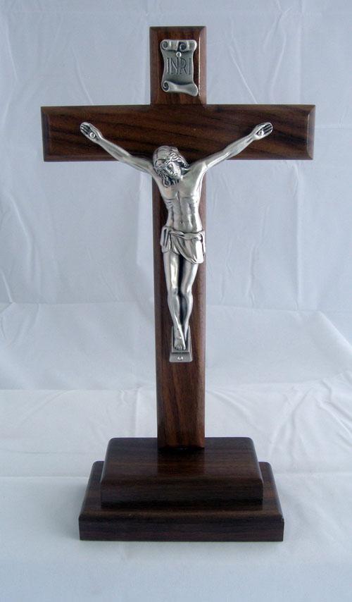 Standing Crucifix Dark Wood Cross Silver Corpus Hidden